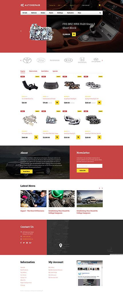 Auto Repair & Parts Online Store #Prestashop #template. #themes ...