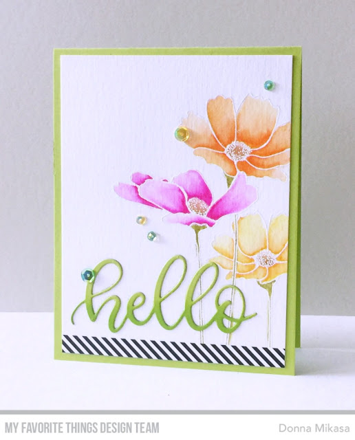 Stamps: Flowers in Bloom Die-namics: Sweet Hello Donna Mikasa #mftstamps #cardkit