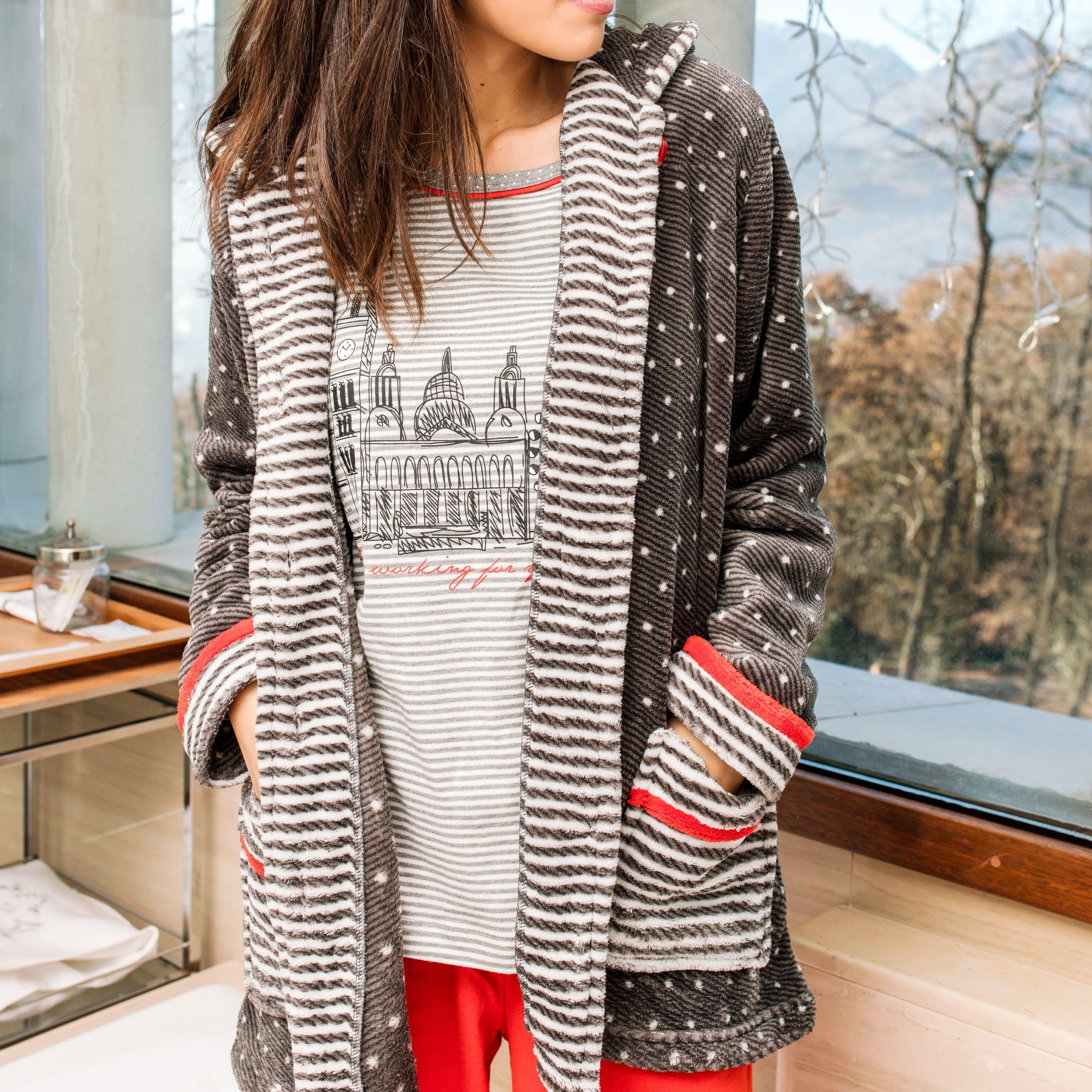 0649ef77d pijama bata señora pantalon camiseta largo leggings conejo rayas azul  marino rojo algodon robe pajama rabbit homewear sleepwear invierno winter  gris grey ...