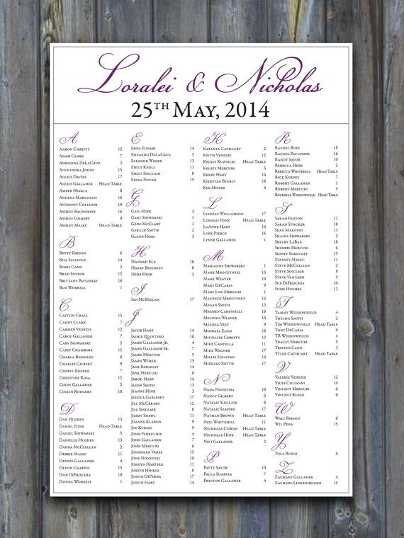 Purple reception wedding seating chart listing guests names in alphabetical order so that can easily find their seats by dot  bow paperie also rh pinterest