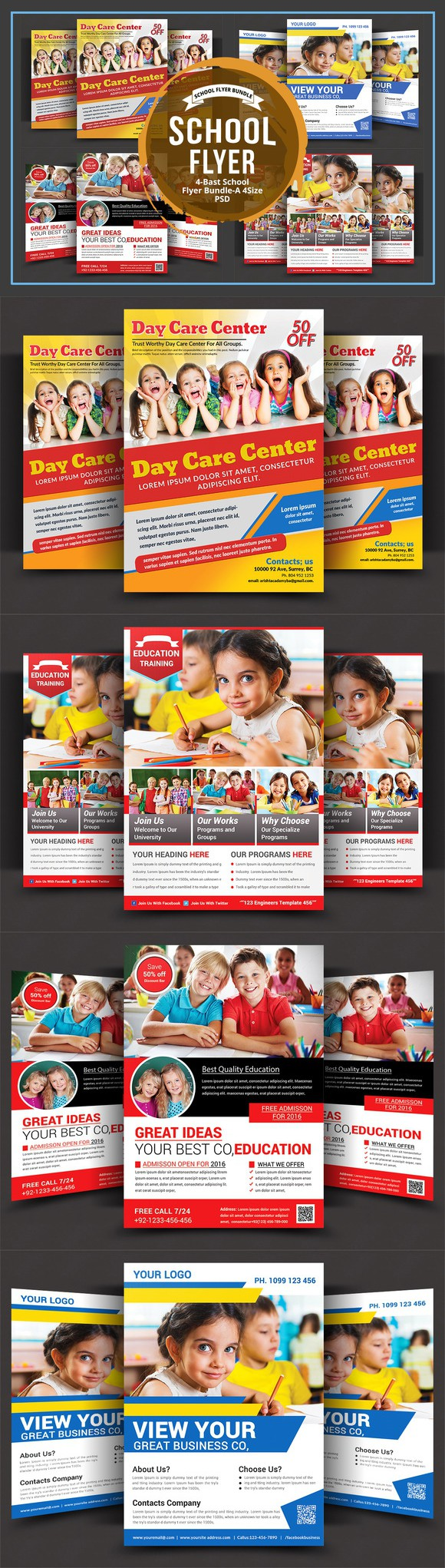 daycare flyer bundle flyer templates 1000