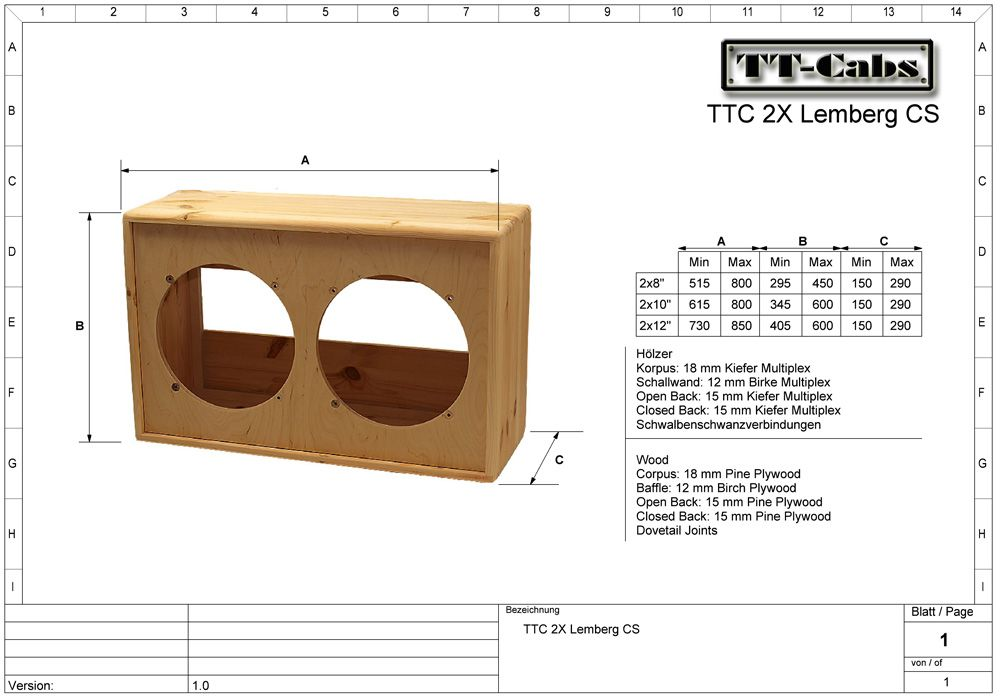 Click This Image To Show The Full Size Version Speaker Cab Guitar Cabinet Speaker Plans