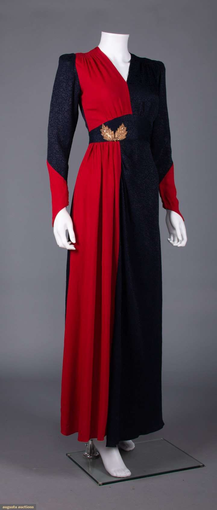 Vintage 1940s Color Block Swag Dress: 1940s Navy & Red Color Block Rayon, Inset W Band W/ Gold