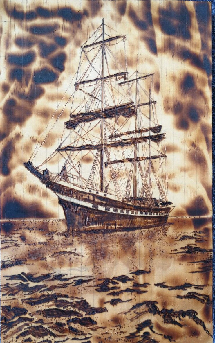 Sailboat Pyrography on pine Artist Adam Todd hayriyeoktay