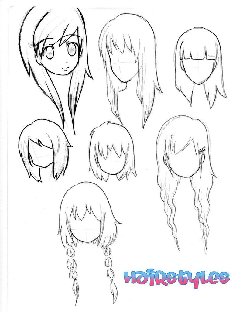 Line Drawing How To : Chibi hairstyles drawing pinterest