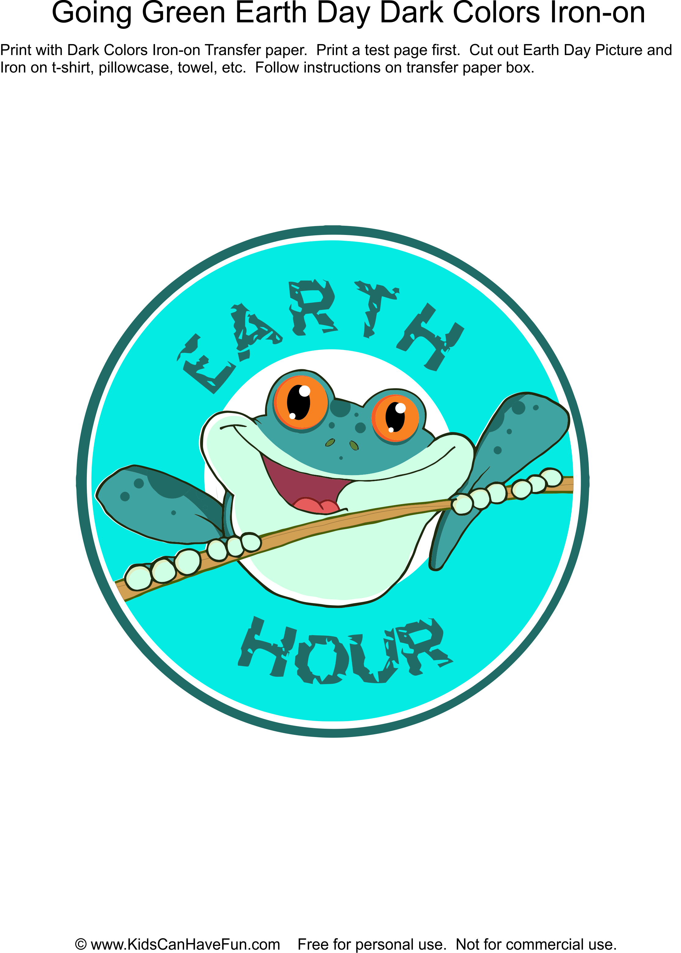 Earth Day Earth Hour T Shirt Iron On