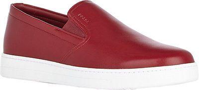 NIB Prada Mens Red Leather Slip-On