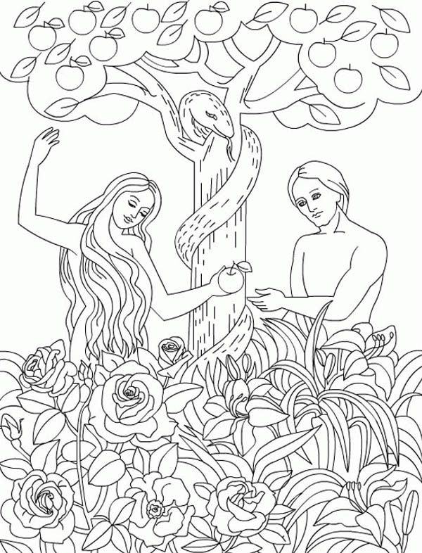 Serpent Eden The Temp Adam And Eve To Eat Forbidden Fruit In FruitGarden Of EdenColoring Book PagesBible