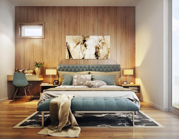 original dormitorio con pared de madera Muebles Pinterest