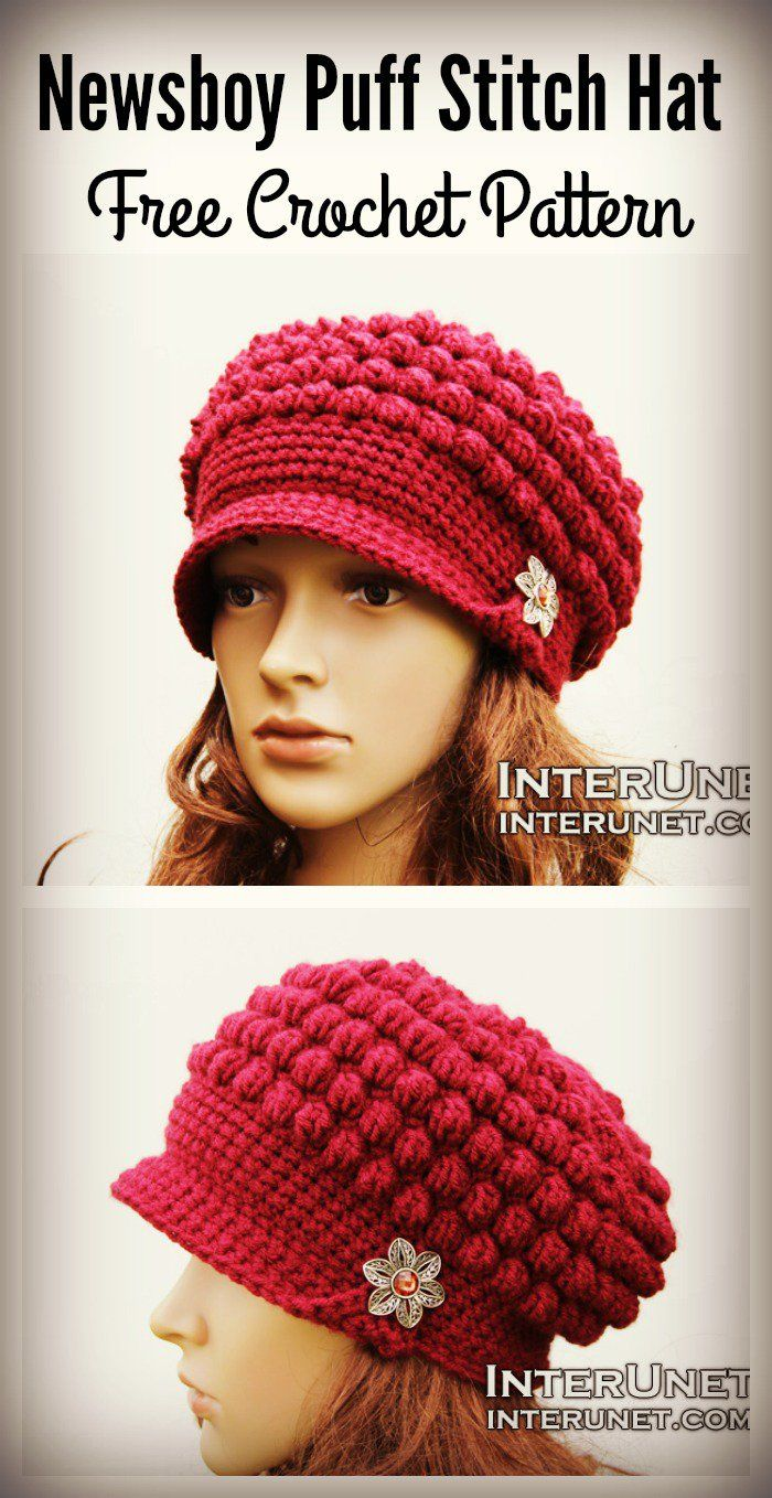 Newsboy Puff Stitch Hat Free Crochet Pattern | Gorros, Ganchillo y ...