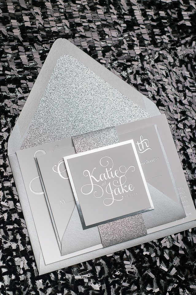 Wedding Invitation Design Ottawa. Fabulous Sparkly All Silver Glitter Foil Stamped Wedding Invitations by  Just Invite Me ADELE Suite STYLED Package stamped wedding
