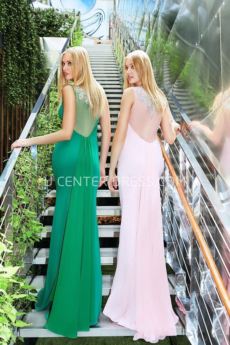 2fde10f4e75 $124.79-Charming Sheath Maxi Scoop Neck Beaded Sleeveless Jersey Evening  Gown with Illusion Back.