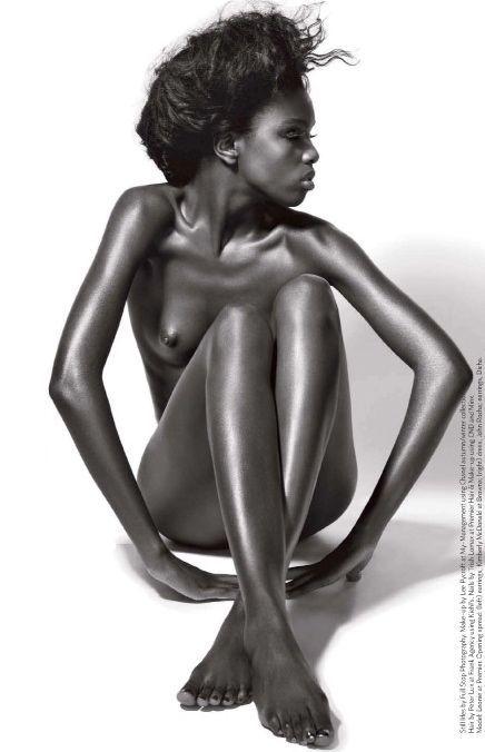 Naked black fashion model