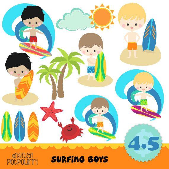 buy2get1 clipart set  surfing boys by digitalpotpourri on Etsy, $4.50