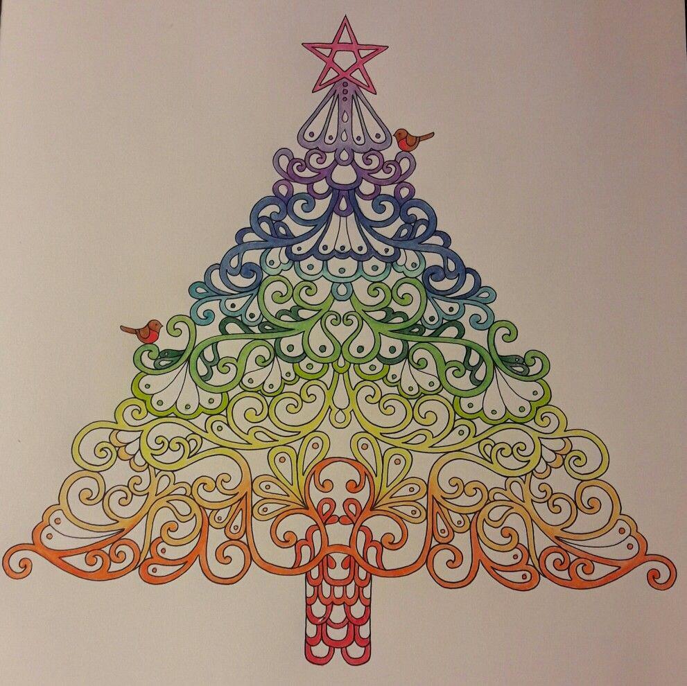 Johanna Basford Festive Colouring, Christmas Tree, rainbow, robins ...