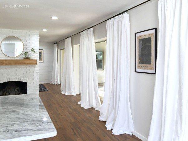 Cheap White Curtains - Quick, Cheap, & Super Easy - Sawdust 2 Stiches #diycurtains
