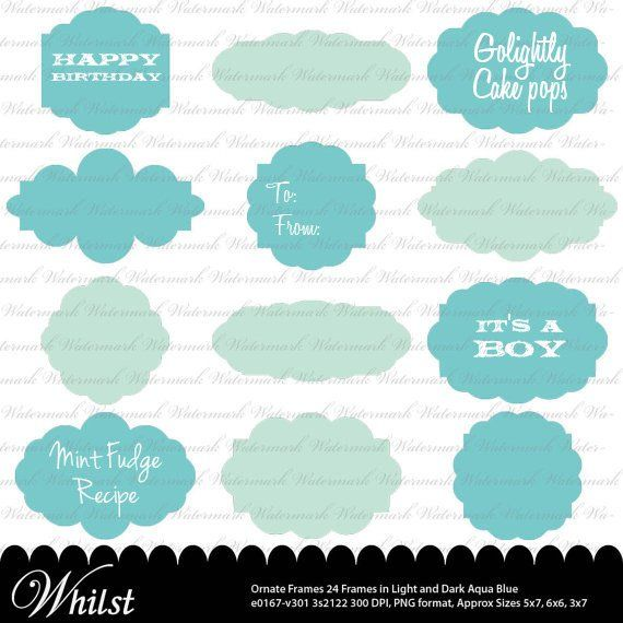 Ornate Frame Clip Art In Aqua Blue And Square Photo Text Digital Clipart E0167 3s2122
