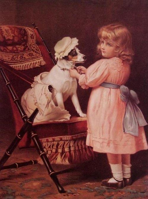 Открытки, винтажные картинки с собаками