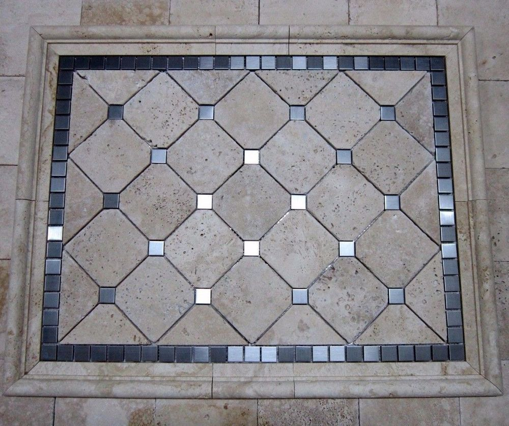 29x23 Travertine Stainless Steel Mosaic Tile Medallion Kitchen