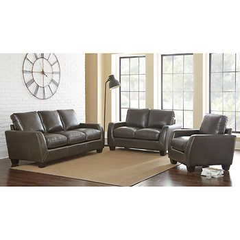 Sheldon 3 piece Top Grain Leather Set Living Rooms