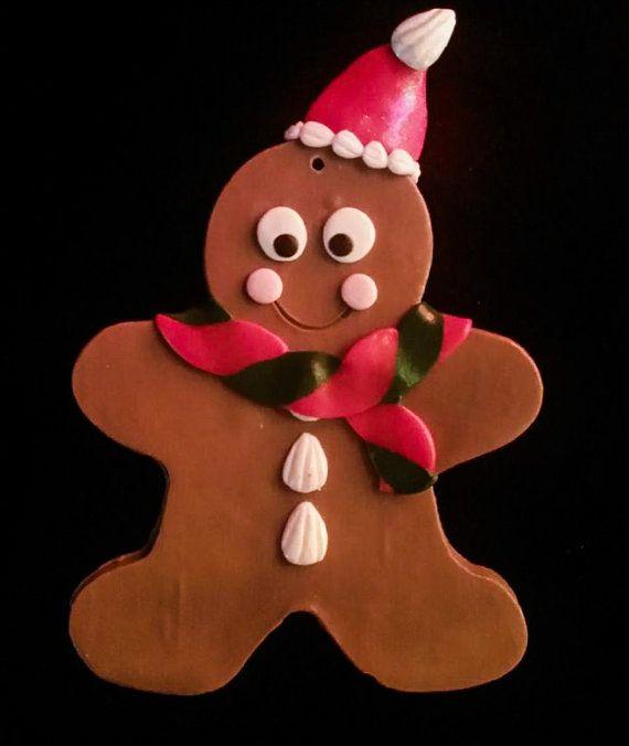 20% OFF SALE Gingerbread Ornament w/ Santa Hat by SweetARTbyAshley