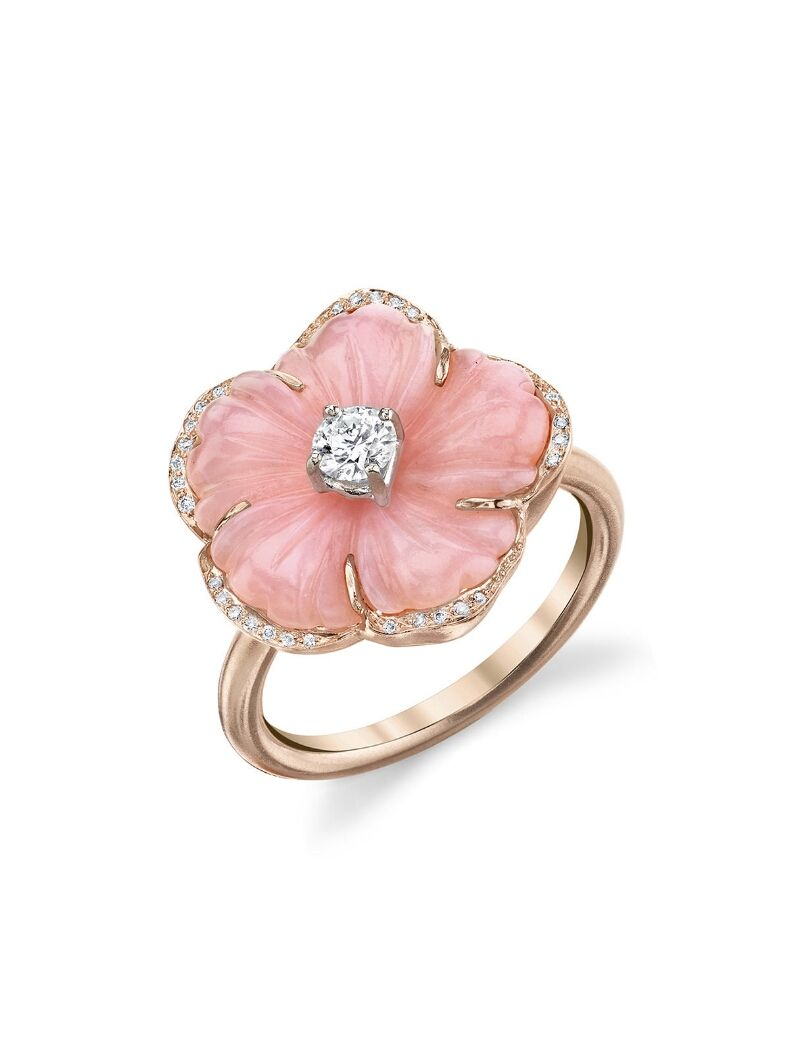 Irene Neuwirth Jewelry - Carved Flower Pink Opal Ring - Rose Gold ...