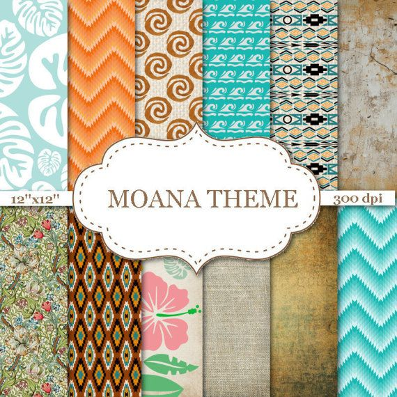 Moana Theme Digital Papers Ombre Chevron Digital Papers Floral Etsy Floral Scrapbook Paper Handmade Stationery Paper Floral