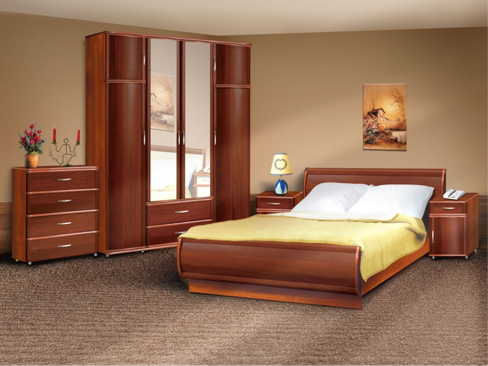 In vogue arc wooden headboard king size bed and double mirror door