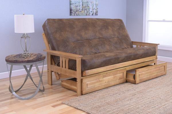 Sleeper Sofas Andover Full Size Futon Sofa Bed and Drawer Set Honey Oak Wood Frame Bonded Leather Innerspring Mattress Java Products Pinterest Full size futon