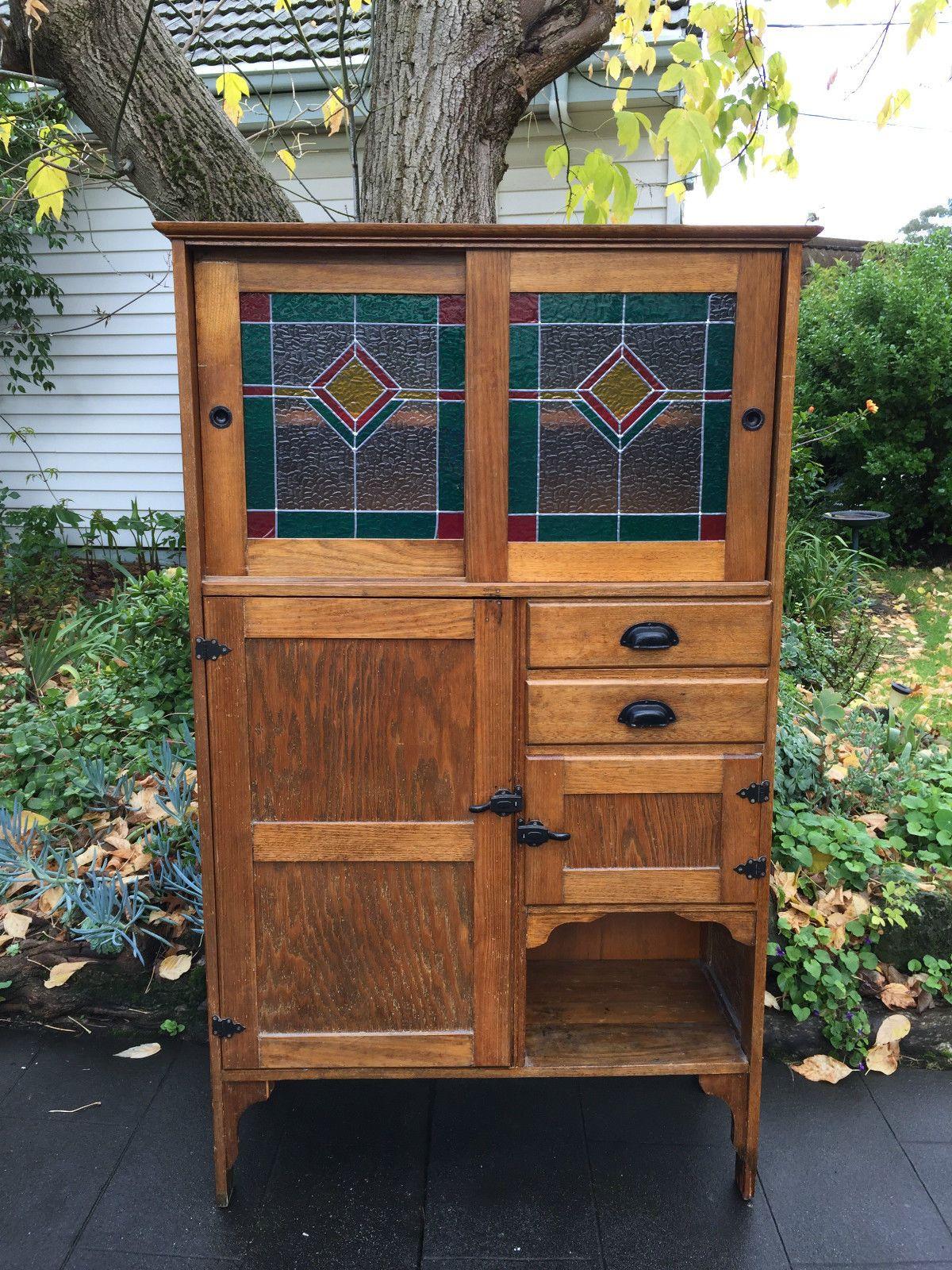 Antique Oak Kitchen Dresser With Leadlight Glass Doors Kitchen