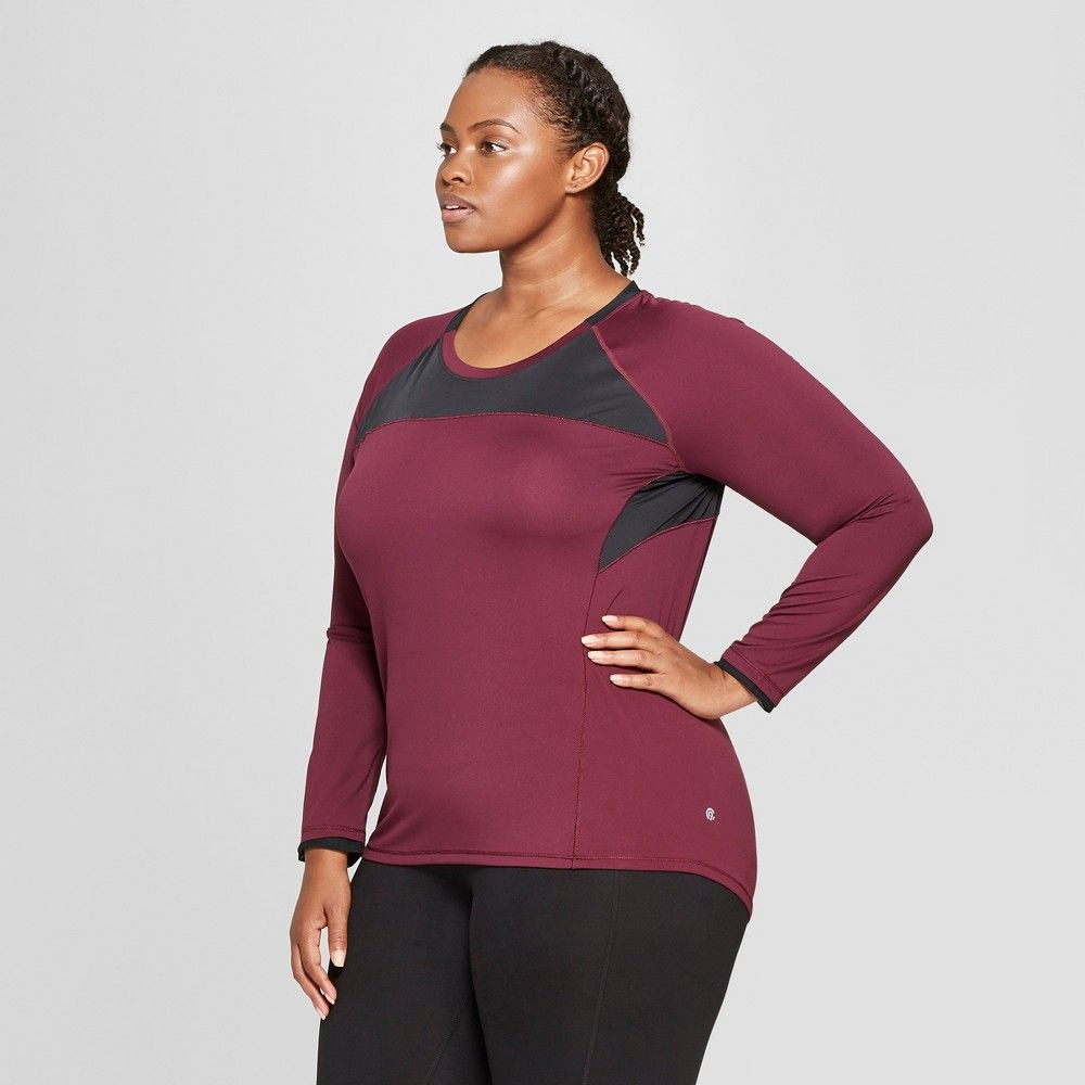 4c400919 Women's Plus Size Long Sleeve Run T-Shirt - C9 Champion Dark Berry Purple 4X