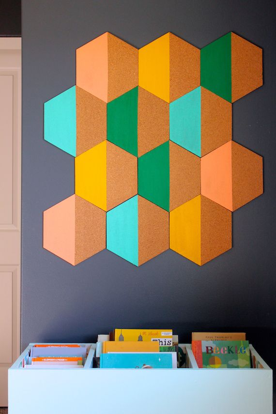 Diy Painted Hexagon Corkboard Crafty Diy Diy Diy