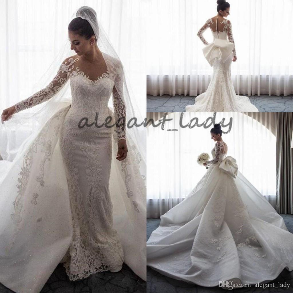 Mermaid wedding dress with detachable train  Vintage Lace Mermaid Wedding Dresses with puffy Detachable Train