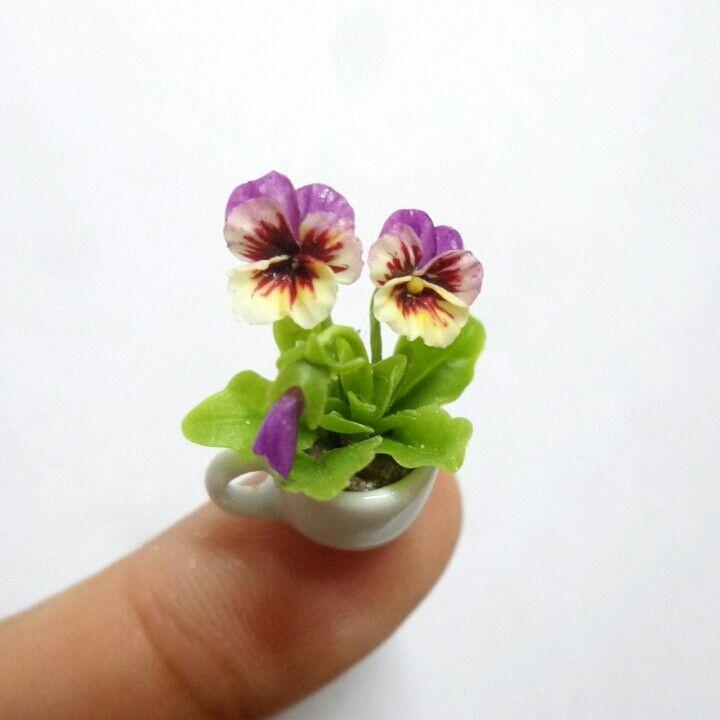 Dollhouse Miniature Pansy Flower Garden Pansies Flowers Mini Plants Miniature Plants