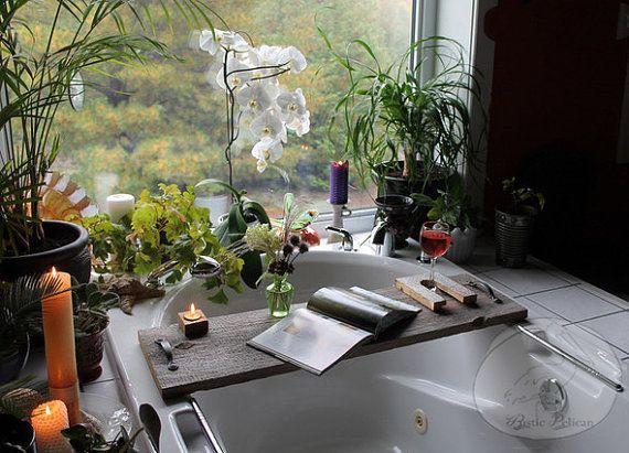 Reclaimed Wood Bathtub Caddy Rustic Wood bath by RusticPelican ...