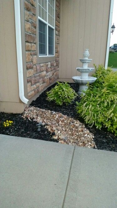 River Rock Drain Spouts Home Sweet Home Front Yard