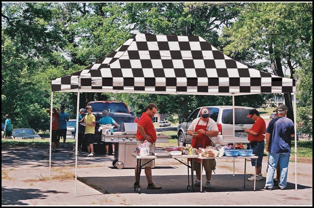 Outdoor Gazebo Canopy 10x15 Checkered Flag Patio Backyard