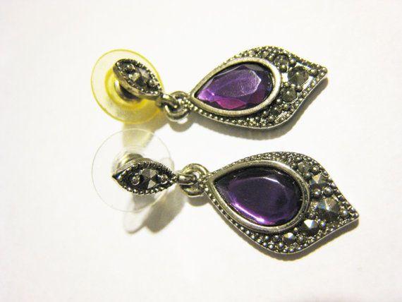 Avon Pierced Dangle Purple Stone Earrings