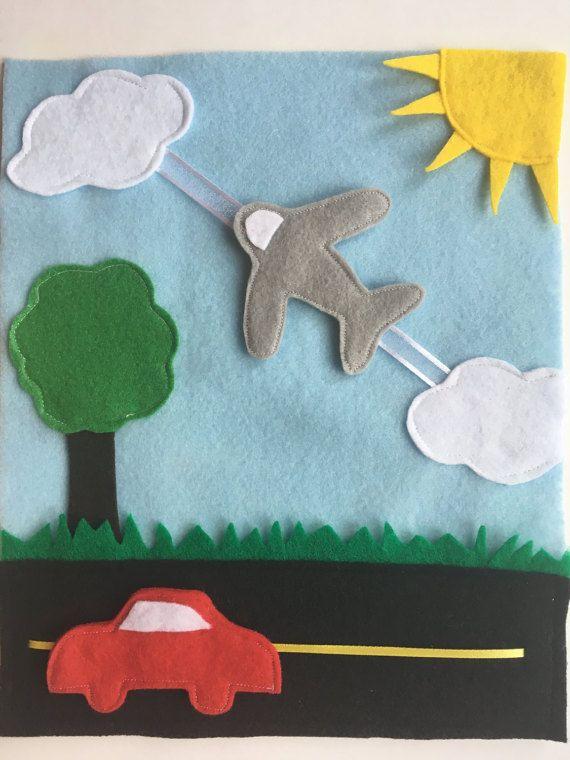 Car Plane Quiet Book Page Felt Pages Travel Birthday Activity Diy Quiet Books Felt Books Toddler Quiet Book
