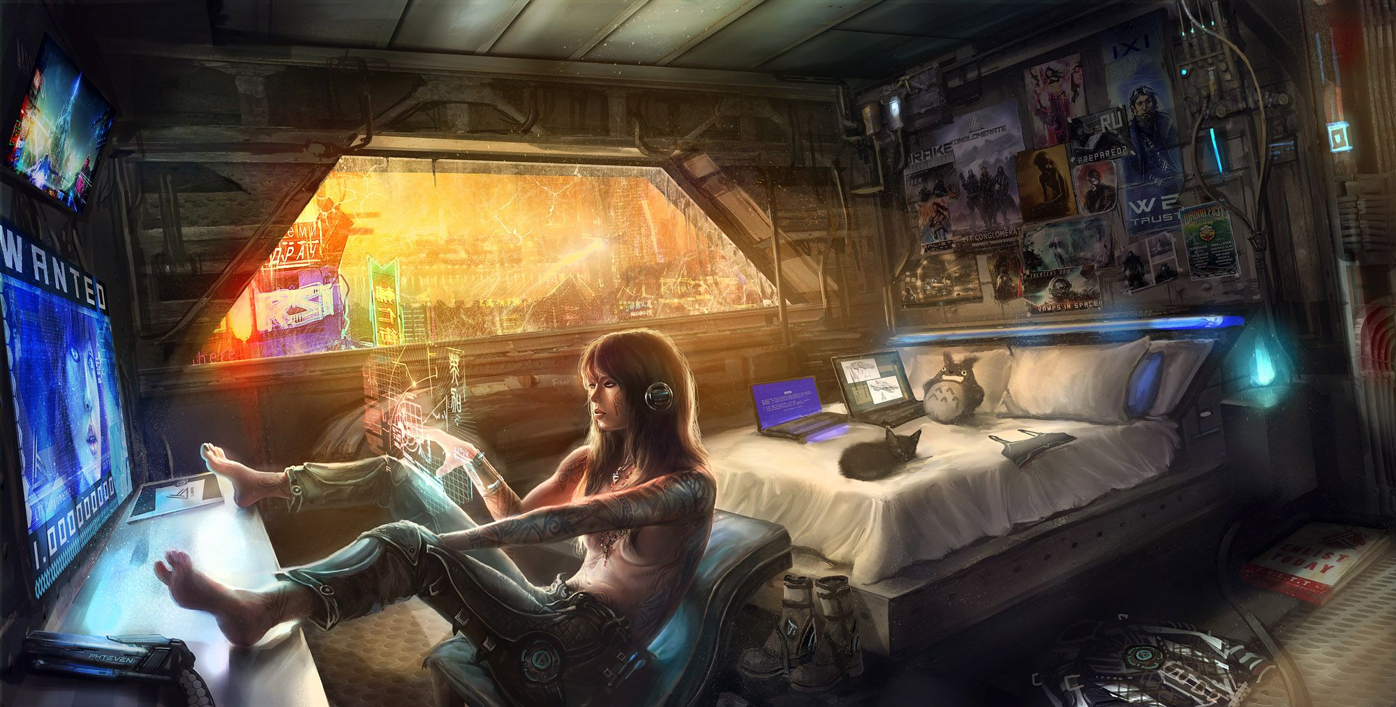 Girl in a cyberworld [xpost r/wallpaper] | Cyberpunk, Sci