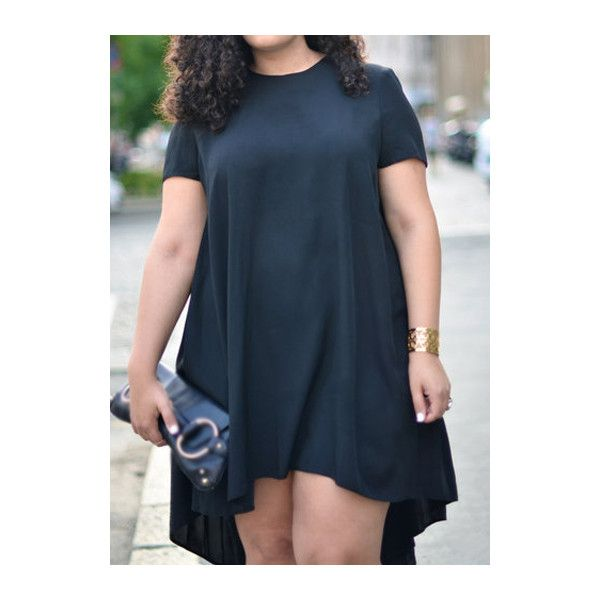 Round Neck Short Sleeve High Low Dress (20 CAD) ❤ liked on Polyvore featuring dresses, black, black midi dress, short sleeve black dress, black hi lo dress, mid calf dresses and hi lo dresses