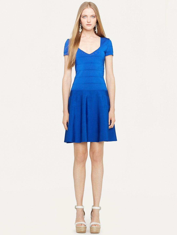 Fitandflare vneck dress short dresses dresses ralphlauren