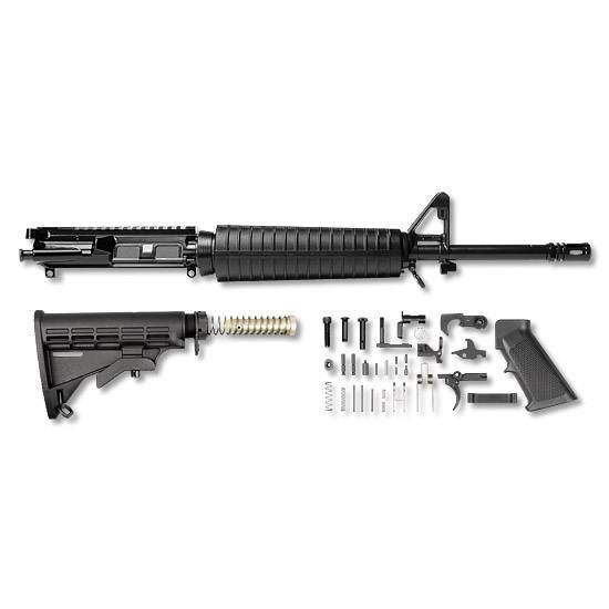 AR-15 Del-ton Rifle Kit Flat Top M4 Mid Length 16 1:9 Twist 5.56 Chamber Adjustable Mil Spec Stock Set Full LPK