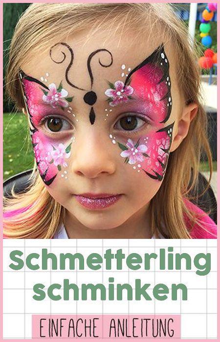 Schmetterling Schminken Fur Kinder Einfache Anleitung Diy Face Paint Butterfly Face Paint Butterfly Face