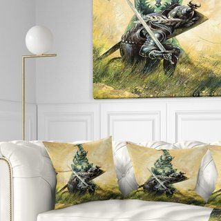 Designart 'The Duel' Modern Throw Pillow (Square - 16 in. x 16 in. - Small), Green, DESIGN ART(Polyester, Animal)