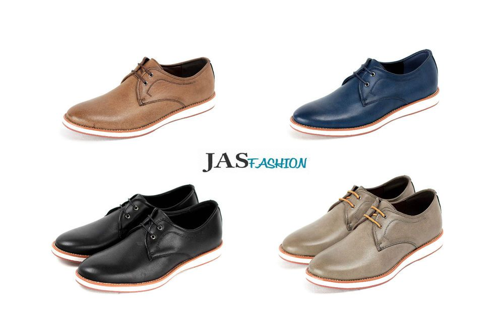 Mens Casual Lace Up Comfort Shoes Smart Office Fashion Plain Italian Design Uk Ebay Smart Casual Office Men Casual Comfortable Shoes