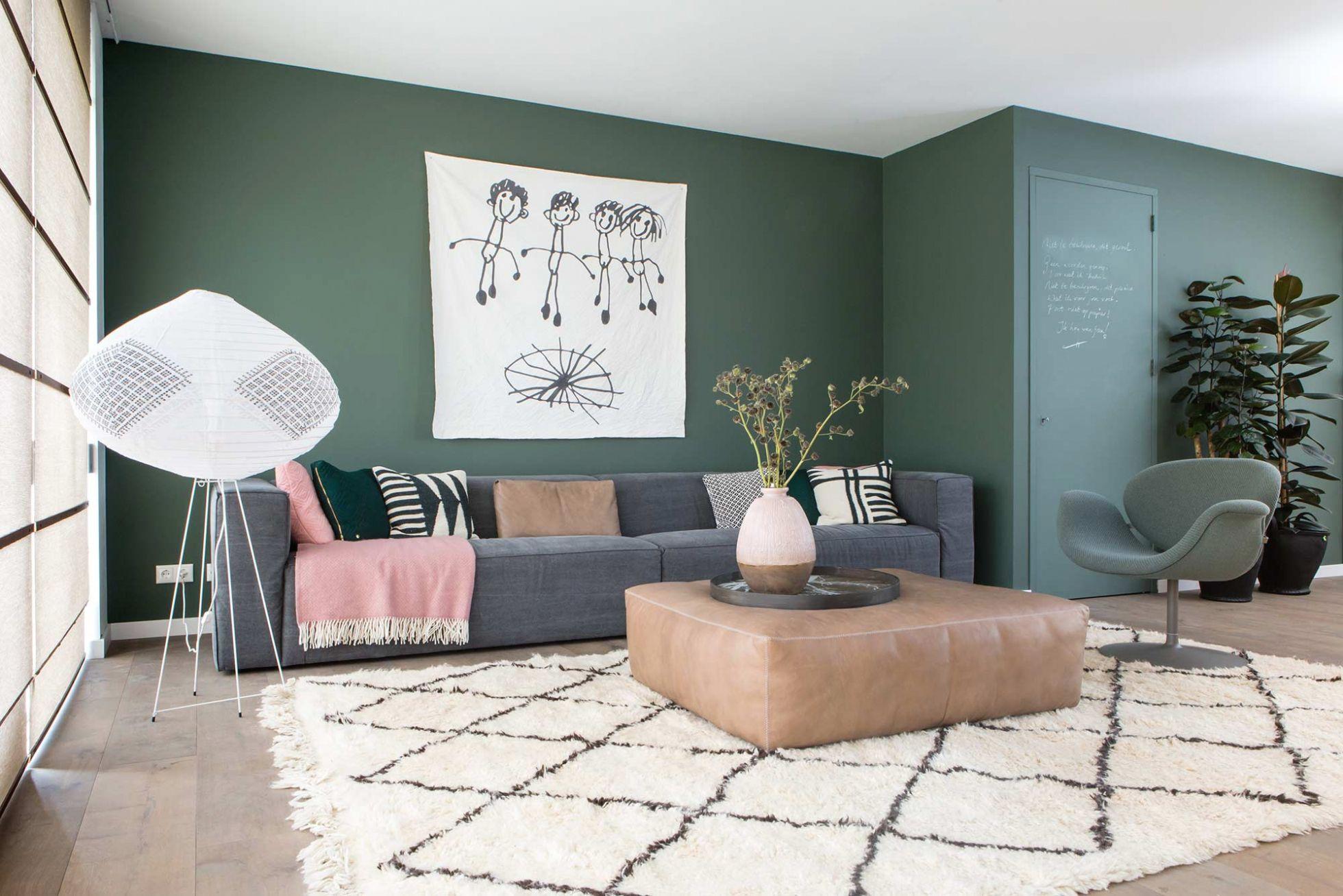 Groene Muur Woonkamer Pinterest