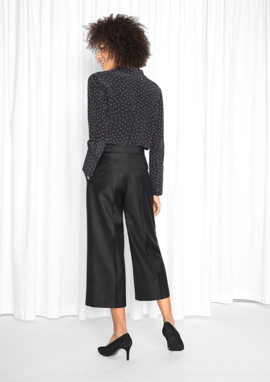 & Other Stories image 3 of Creased Wool Blend Culottes in Black