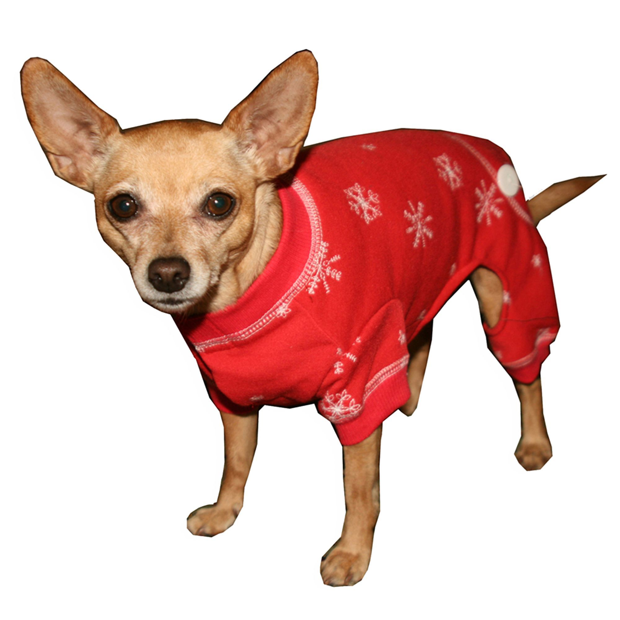Hip Doggie Snowflake Longjohns size Medium, Red Dog