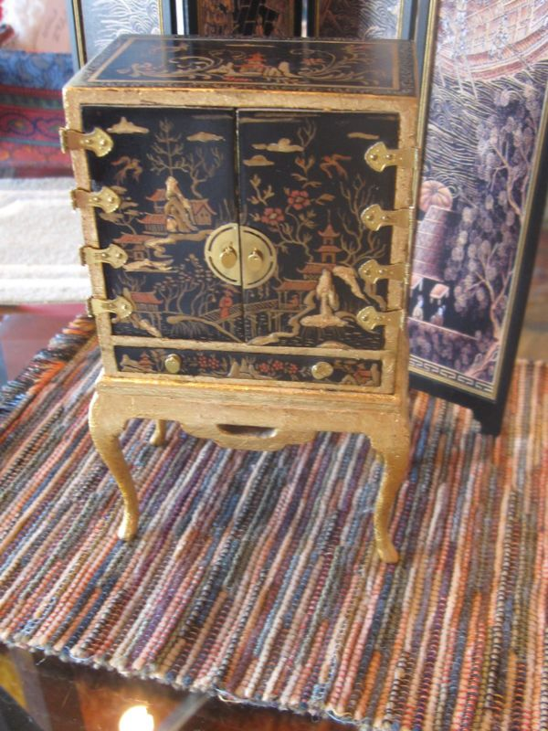 FANTASTIC PAINTED CHINOISERIE CABINET ROSEMARIE TORRE DOLL HOUSE MINIATURE